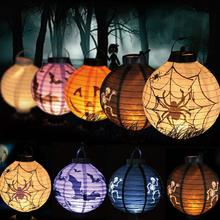 Cute LED Paper Pumpkin Bat Spider Skeleton Hanging Lantern Light Lamp Halloween Party Decor