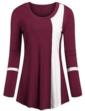 Women Autumn/Spring Long Sleeve Round Neck Color Block Loose Medium Length Fit Dressy Tunics Top(China)