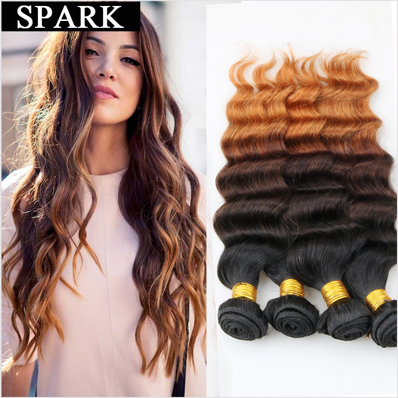 7A Ombre Deep Wave Brazilian Virgin Hair Human Hair Weave 3 or 4 Bundles Deep Curly Hair Extension Rosa ishow Loose Deep Wave<br><br>Aliexpress