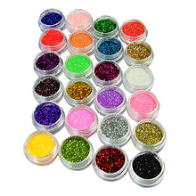24 Colors Nail Glitter Powder Dust 3D Tip Nail Art Manicure Tools Nail Art Decoration Polish Powder Dust Gem Decoration