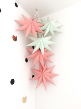 Pack of 5 Folded Paper Star Lanterns Set 3D Hanging Paper Stars for Wedding Birthday Showers Home Evening Party Windows Decor(China)