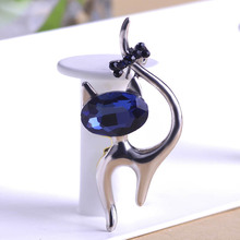 Cute Blue Cat Brooches Wedding Broach Hijab Pin Hippocampal Broches Gun Black Plated Brooch Bouquet Women Corsage Animal Collar