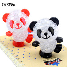 YNYNOO 3D puzzles DIY Crystal Black-White Panda with Flash Light 3D Crystal Puzzles Assembled DIY model birthday gift set toys