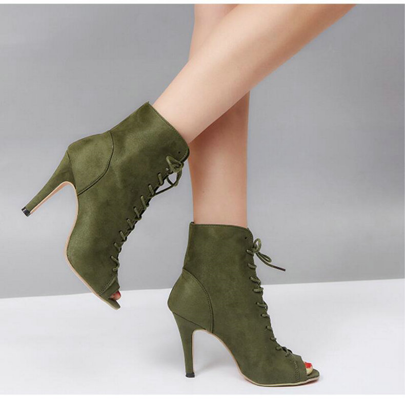 Women's Boots' Women Lace-Up Black Ankle Boots Women High Heels Pointed Toe Ankle Boots For Womens Plus Size Shoes Woman Boot    (10)