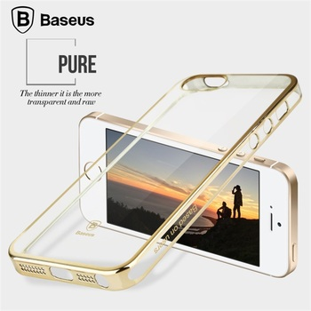 Baseus Plating Luxury Case Transparent Ultra-thin Back Case For iPhone 5 5S SE PC Protective Cover Skin Shell
