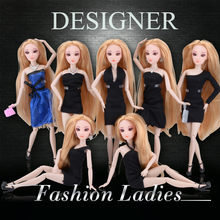 1 PC Fashion Ladies Dolls with Black Dress Clothes for Barbie Doll 12 Joint Moving Body Accessories Diy Doll  Gift for Girl
