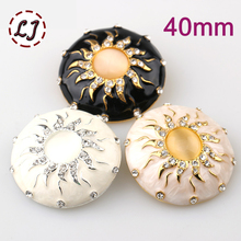 new fashion 40mm High-grade beads rhinestone big gold carfts decorative Button for women Mink coat sewing accessory scrapbook(China)