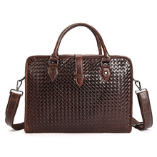 Hand woven Men messenger bags genuine leather bag man briefcase fashion designer handbag high quality famous brand business bags