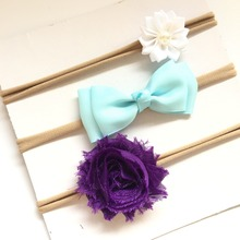 3pcs/set headband skinny soft nylon headband chiffon flower headband newborn photo props(China)