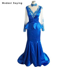 Real Photo Sheer Royal Blue Beaded Lace Evening Dresses 2018 with Peplum Long Sleeve High Neck Party Prom Gowns vestido de festa(China)
