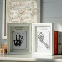 Baby growth commemorative gift photo frame hand and foot print table frame(China)