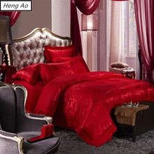 Chinese Wedding Red Bedding Set Embroidery Silk Bedding Sets Bed Linens Tencel Satin Bed Sheet Set Jacquard/Queen/King Size(China)
