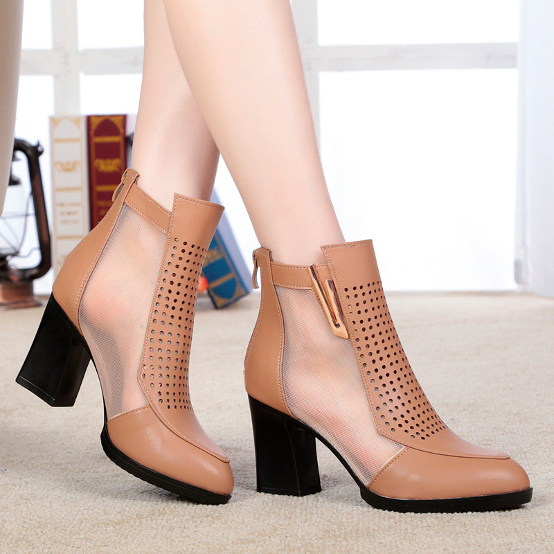 2017 womens boots spring and summer new high-heeled with female network boots mesh yarn hollow boots women shoes large size <br>