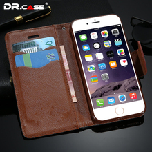 DR.CASE Promotional Luxury Retro PU Leather Cases For iPhone 6 6S Case Wallet Cover For iPhone 6 6S Card Slot with Lowest Price
