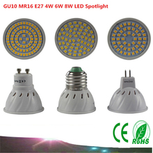 1PCS GU10 MR16 SMD2835 LED Bulb E27 220V 230V Spotlight 4W 6W 8W 48LEDs 60LEDs 80LEDs Spot Light Cree Bulb