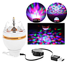 Mini RGB 3W LED MP3 DJ Club Pub Disco Party Music Crystal Magic Ball Stage Effect Light Auto Rotating Bulb With USB Interface(China)