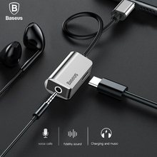 Baseus Type-C Audio Cable Adapter Type C to 3.5mm Jack Earphone Fast Charger USB C Splitter For Xiaomi Mi 6 Huawei Mate 10 Pro(China)
