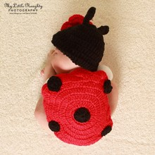 Newborn Baby Photo Studio Photography Props Cap Knit Hat Infant Cute Wool Knitted Ladybug Costume Hat Shell Photo Prop