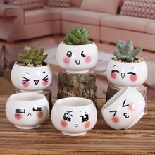 Hot Creative cute face doll ceramic pots