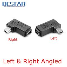 Mini USB 5 Pin Male to Female Extension Adapter 90 Degree Left & Right Angled Mini USB Connector Adaptor