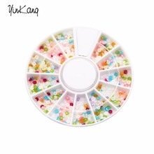 2016 New Fashion Colorized Studs Stickers Decoration Colorful 3d Half Round Nail Art Pearl Decoration Wheel DIY Nail Beauty(China)
