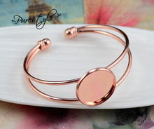High Quality  20mm Rose Gold Plated Bangle Base Bracelet Blank Findings Tray Bezel Setting Cabochon Cameo  (L6-22)