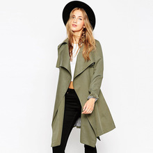 2017 Hot Sale For Women Overcoat Solid Long Sleeve Open Stitch Cardigan Thin Trench Coat C202