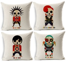 PUNK ROCKER TEDDY BOY MOD GLAM Art Cushion Covers Hand Painting Skulls Decorative Cushion Cover Beige Linen Pillow Case