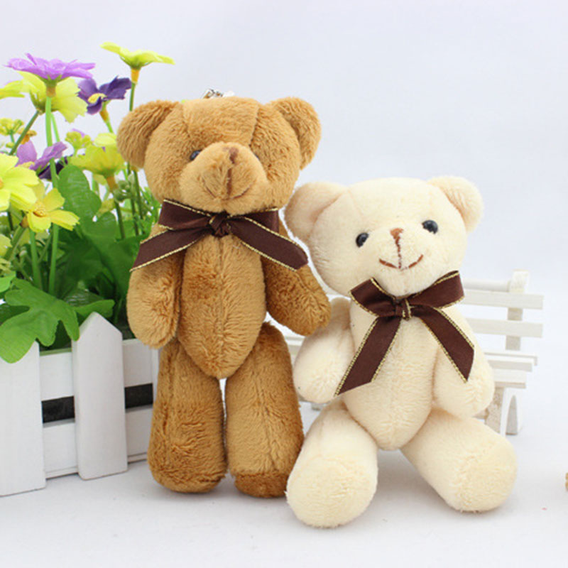 New 14CM 12pcs/lot PP Cotton Bouquets Bear Kid Toys Plush Doll Mini Small Teddy Bear Flower for Wedding,Christmas Gift HT3622(China (Mainland))