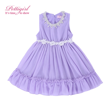 Pettigirl Summer Baby Girl chiffon Dress Purple lavender Princess Dresses With Beading Causal Kids Clothing GD50325-7