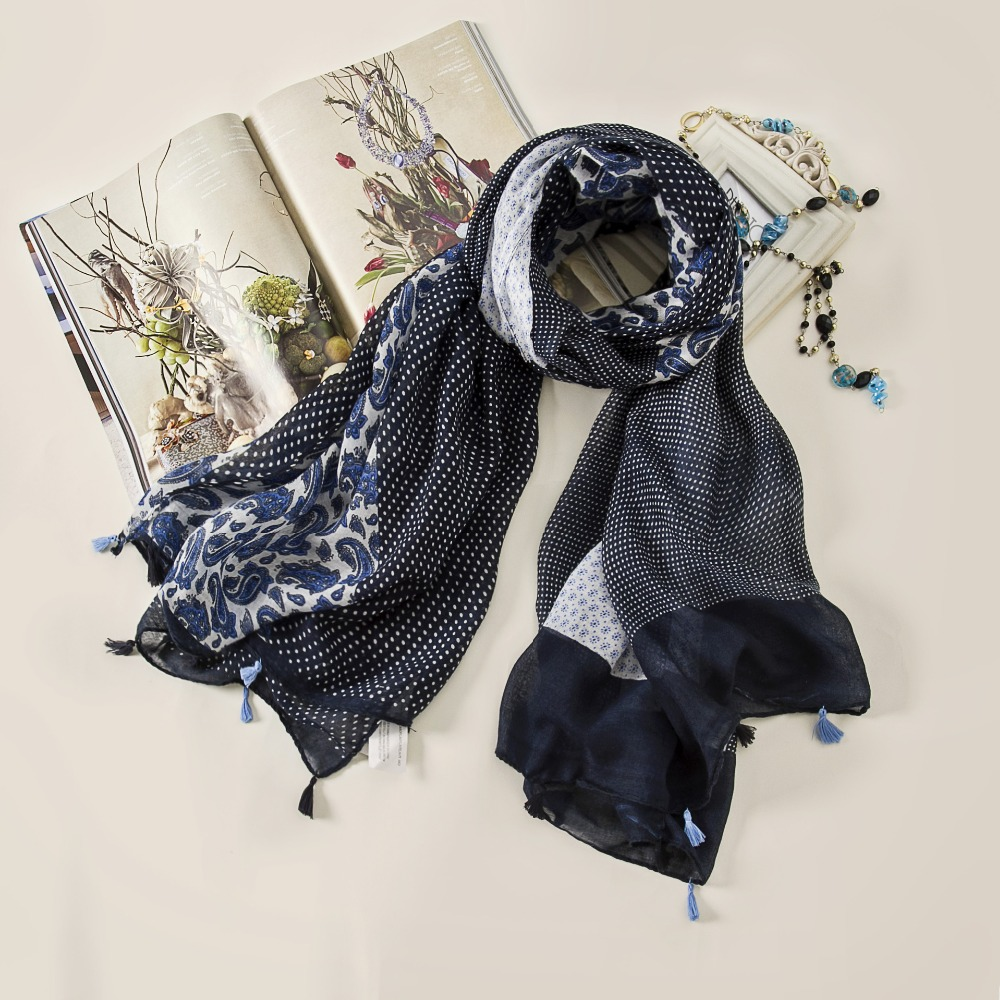 2016 Women Polka Dot Paisley Pattern Quality Tassel Scarf Cotton Voile Scarf Shawls Wraps 10pcs/lot