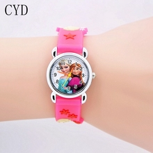 New 2016 Cartoon Princess Elsa Anna Watches Fashion Children Girls Kids Student Cute Silicone Wrist Watches Hour Gift relojes
