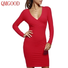 QMGOOD Sexy Bodycon Pencil Dress Long Sleeves Package Hip Sheath Solid Dress Women Fashion V Neck Dress White Blue Red 2018 New(China)