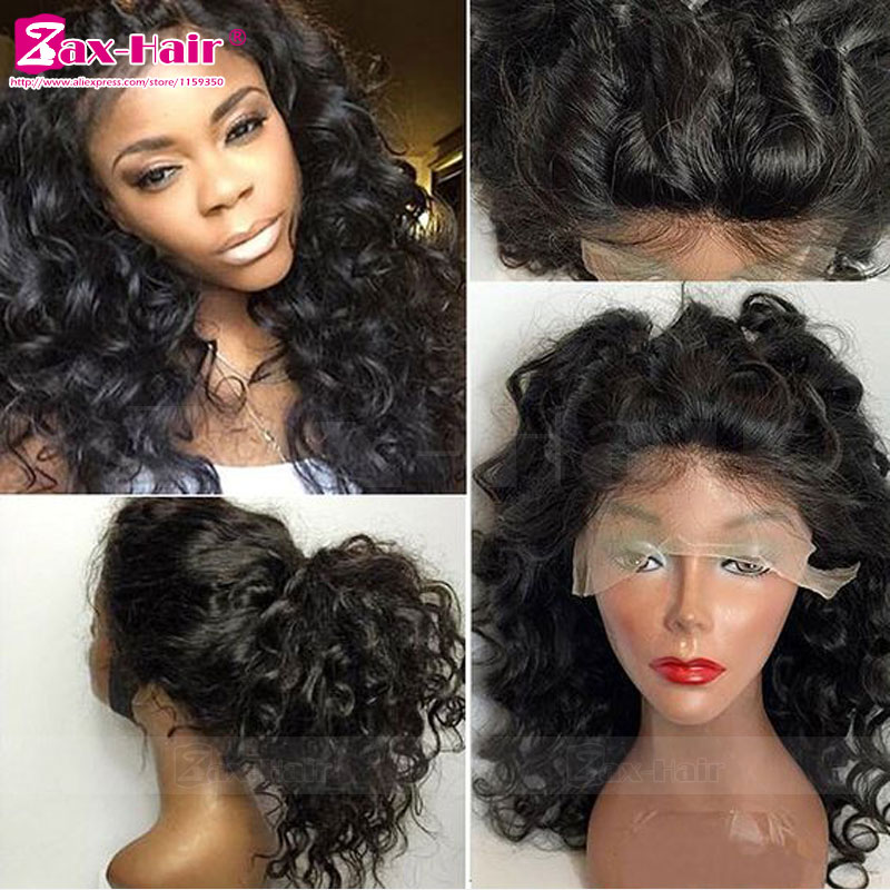 Virgin Human Hair Full Lace Wigs Glueless Human Hair Unprocess Lace Front Wigs In Stock 7A For Black Women Curly Full Lace Wigs<br><br>Aliexpress