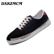DXKZMCM Classic Canvas Shoes Men Casual Shoes Comfortable Round Toe Lace-up Flat Shoes(China)