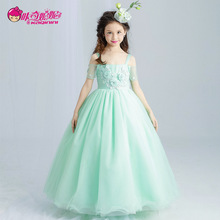White Green Princess Flower Girl Dress For Weddings Girls Party Pageant Dress Top Cute Dresses For 3-13 Years Baby Girls