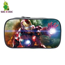 Avengers Tony Stark Printing Pen Holder for Kids Boys Girls School Stationery Storage Bag Pen Pouch Women Mini Cosmetic Cases(China)
