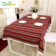 Mediterranean Bohemia Lace Tablecloth Lattice Cotton Linen Cloth Dustproof Table Cover Rectangular WeddingParty Home Decoration