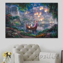 Poster and Print of Thomas Kinkade Oil Painting Tangled Art Giclee on Canvas, Wall Pictures ,christmas decoratoins for home