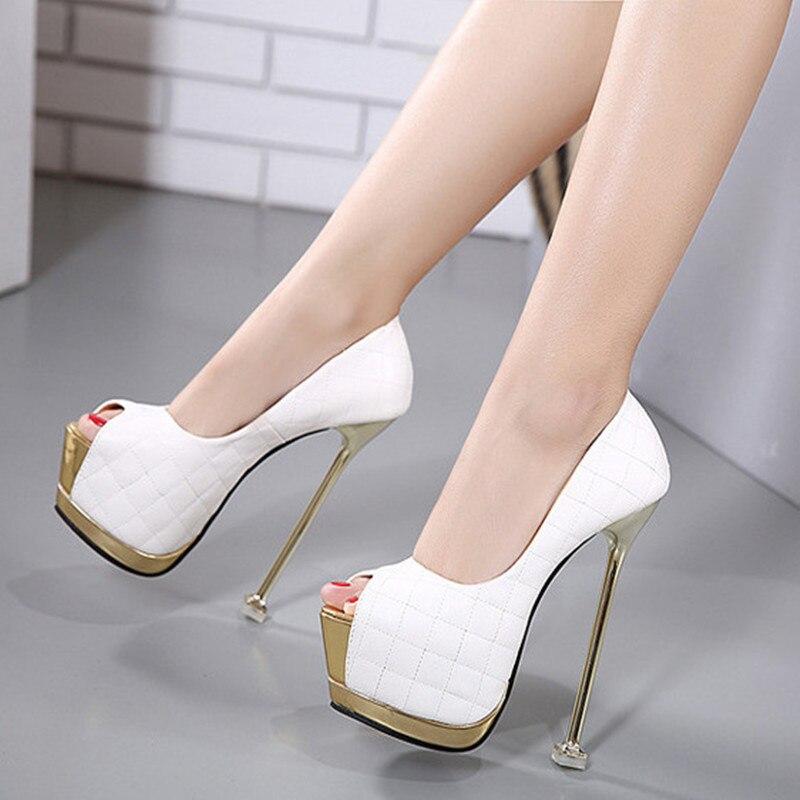 Summer Open Toe High Heels 16cm Shoes Women Pumps Sexy Platform Shoes Woman White Wedding Shoes Thin Heel<br><br>Aliexpress