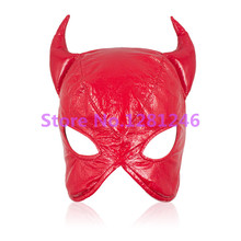 2 Colors Latex Leather Sex Mask,Crazy Bull Spandex Head Bondage Mask,Fetish Male Restraint Hood Sex Products(China)