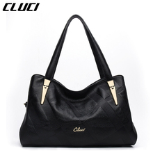 CLUCI Women Handbags Real Genuine Leather Fashion Black Hobos Zipper Elegant Totes Luxury Ladies Handbags Top-handle Bags Soft