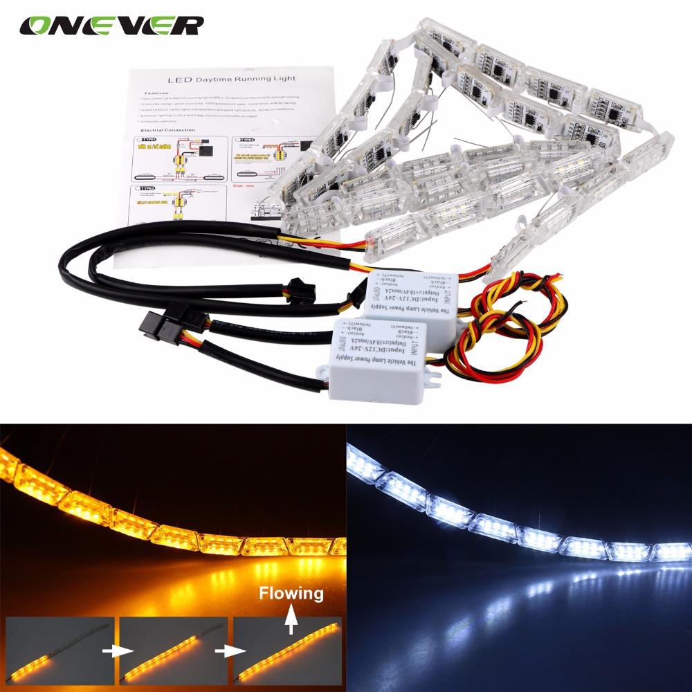 2Pcs Car Flexible Switchback LED Knight Rider Strip Light for Headlight Sequential Flasher DRL Flowing Amber Turn Signal Lights(China (Mainland))