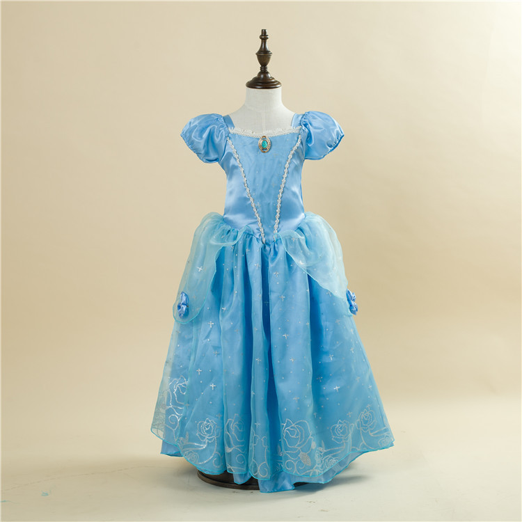 Free Shipping Retail 1pc 2015 New Girls Movie Cosplay Costume Fairy Cinderella Princess Dress Fancy Bows Party Dresses 1503 Blue<br><br>Aliexpress