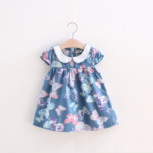 BibiCola 2017 Infant Summer Korean Cartoon Baby Jeans Girls Pastoral Dress Princess Clothing Printed Girl Kids Casual Dress(China)