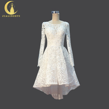 JIALINZEYI Real Picture Sexy Long SLeeves Lace Front short with long back Beach Wedding Dresses arabic wedding dress 2017