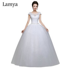Lamya Plus Size Cheap Short Lace Sleeve With Crystal Wedding Dress 2017 Princess Style Bridal Gown Discount vestido de noiva(China)