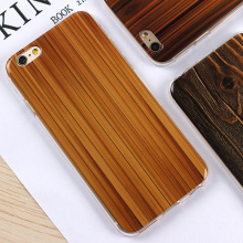 Luxury Wooden Pattern TPU Brown Cover For Apple Case Wood Grain Soft Back Shell Phone Cases For iphone 6 6S / Plus 5 5S SE