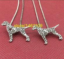 12PCS Dalmatian Pendant Necklaces Silver heart Standing Spotted dogs Pendants animals charms Women fashion Jewelry Wholesale