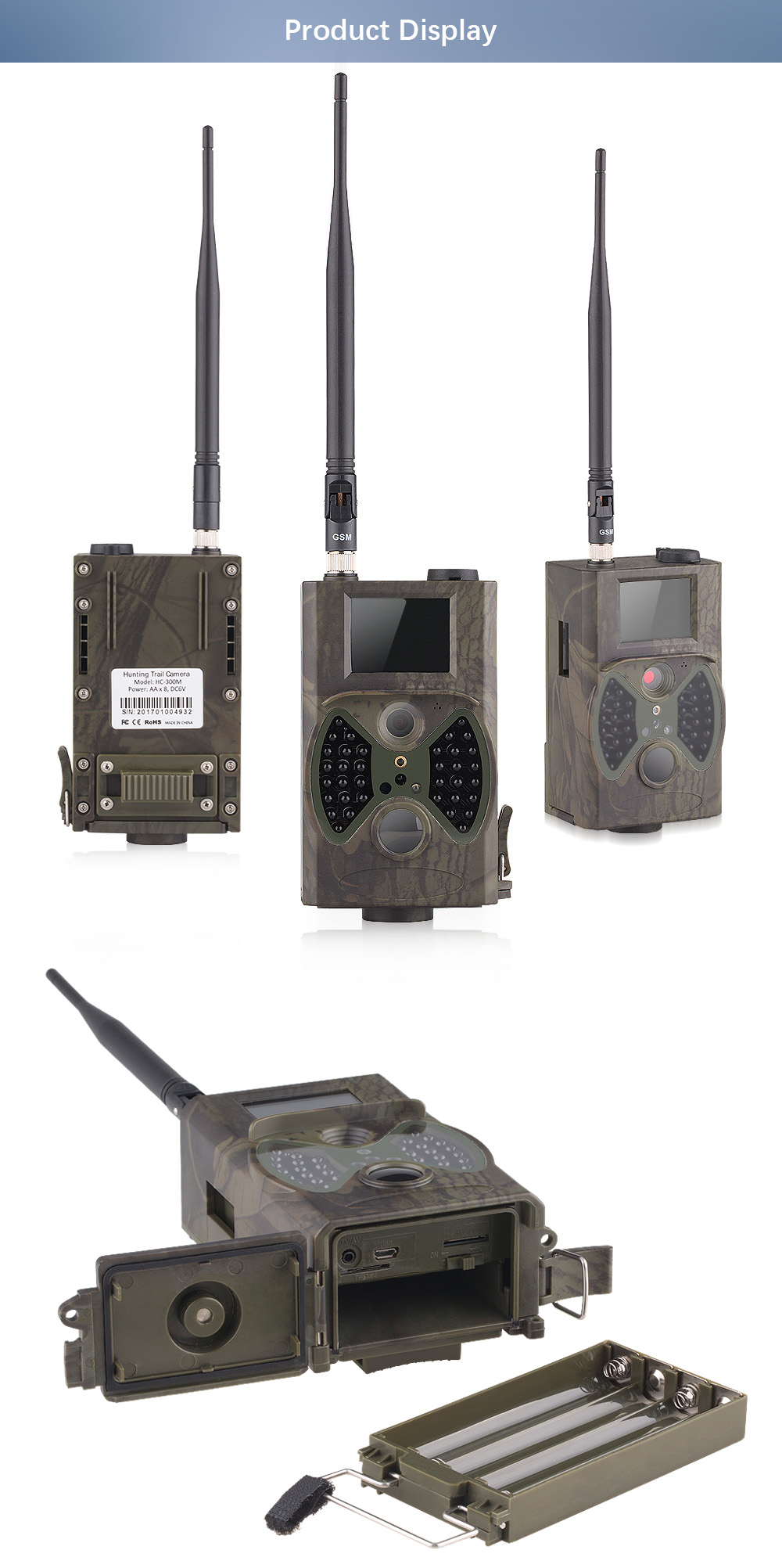HC 300M Deer Cameras 12MP GSM MMS GPRS SMS Control Hunting Camera HC300M with 36 units Infrared LEDS Motion Detection HC-300M (7)